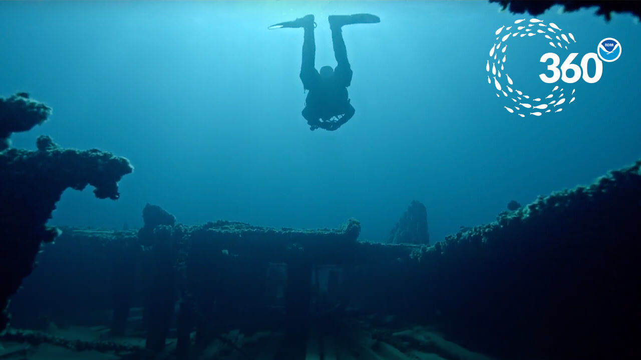 The silhouette of a diver swimming above a shipwreck