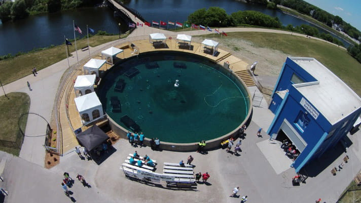 aerial view of dive training pool at thunder bay national marine sanctuary