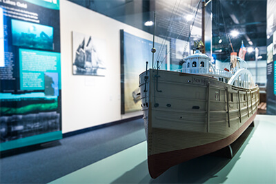a model ship in a museum