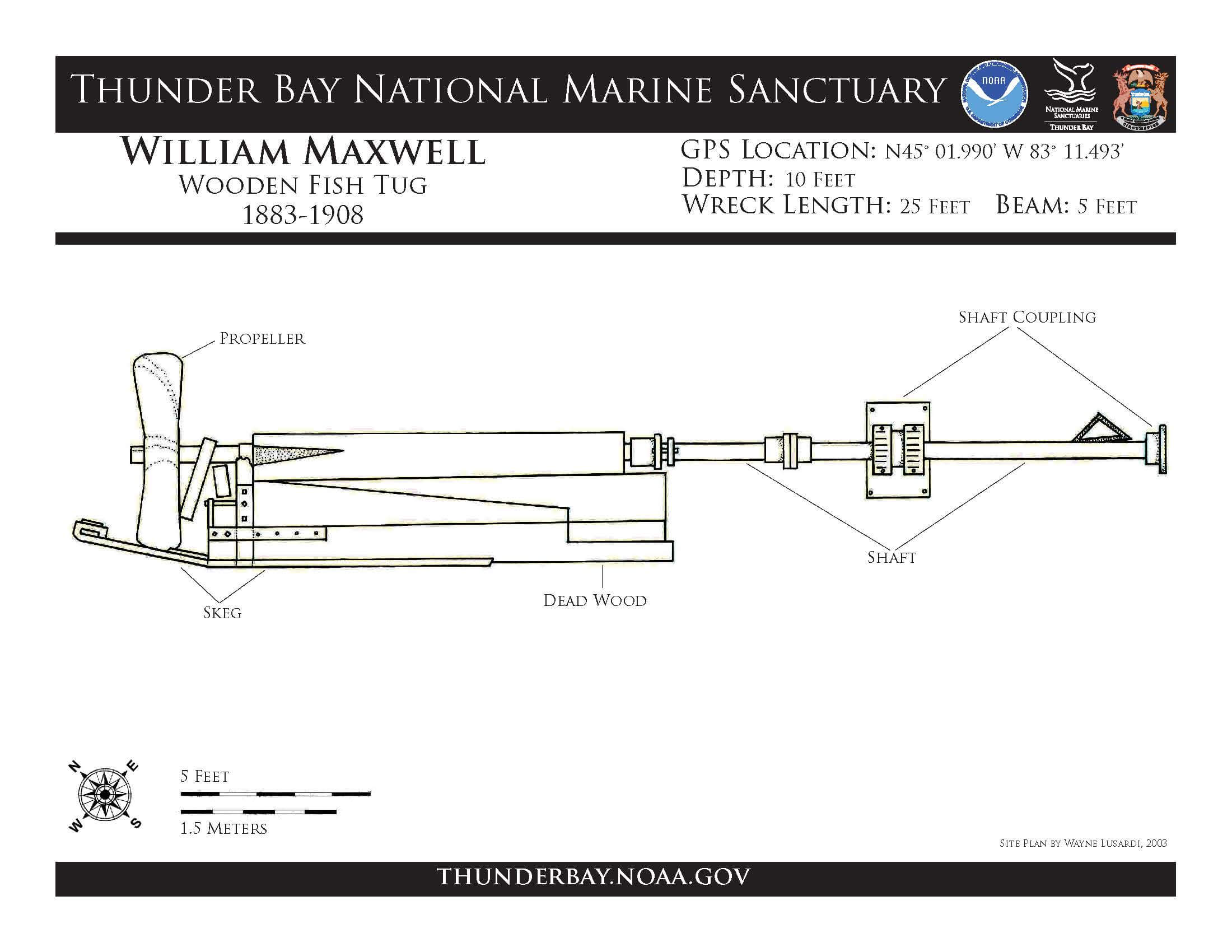 diagram of the William Maxwell wreck
